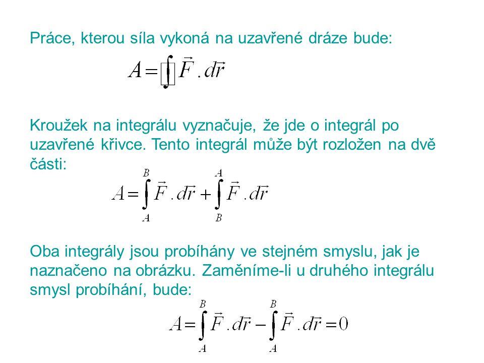 Práce, kterou síla vykoná na uzavřené dráze bude: Kroužek na integrálu vyznačuje, že jde o integrál po uzavřené křivce. Tento integrál může být rozlož