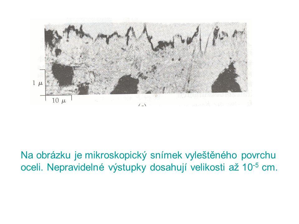 Na obrázku je mikroskopický snímek vyleštěného povrchu oceli. Nepravidelné výstupky dosahují velikosti až 10 -5 cm.