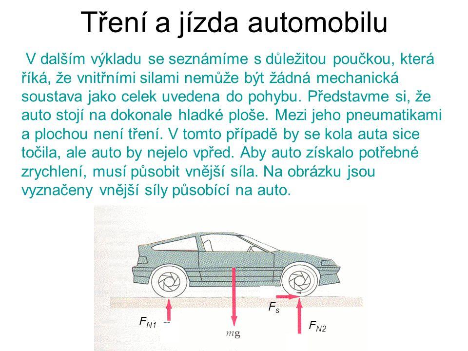 Tření a jízda automobilu V dalším výkladu se seznámíme s důležitou poučkou, která říká, že vnitřními silami nemůže být žádná mechanická soustava jako