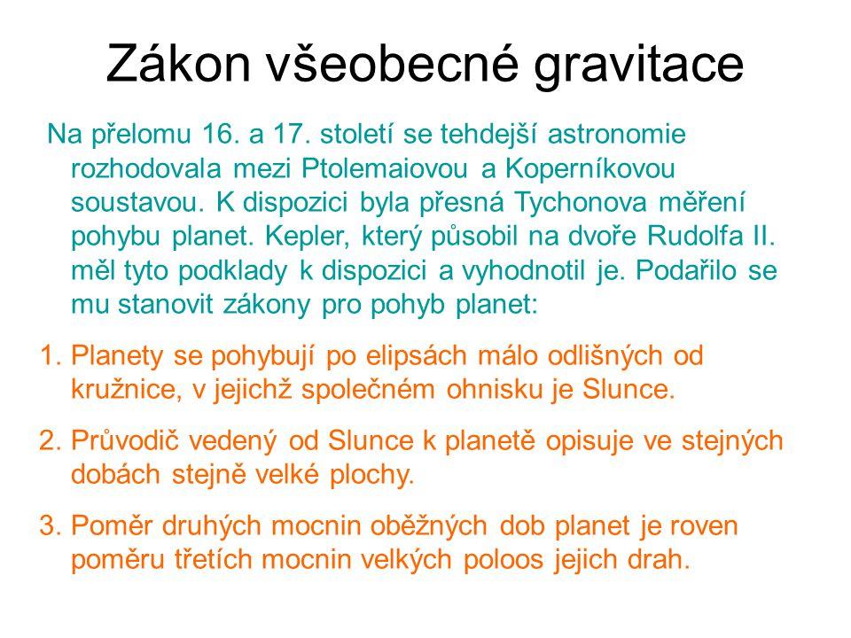 Zákon všeobecné gravitace Na přelomu 16. a 17. století se tehdejší astronomie rozhodovala mezi Ptolemaiovou a Koperníkovou soustavou. K dispozici byla