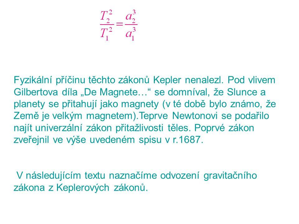 """Fyzikální příčinu těchto zákonů Kepler nenalezl. Pod vlivem Gilbertova díla """"De Magnete…"""" se domníval, že Slunce a planety se přitahují jako magnety ("""