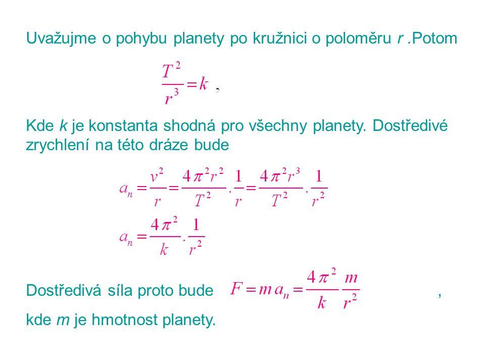 Uvažujme o pohybu planety po kružnici o poloměru r.Potom Kde k je konstanta shodná pro všechny planety. Dostředivé zrychlení na této dráze bude Dostře