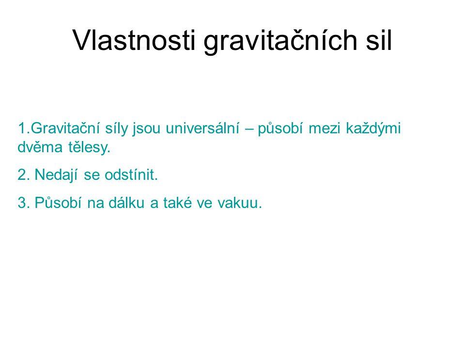 Vlastnosti gravitačních sil 1.Gravitační síly jsou universální – působí mezi každými dvěma tělesy. 2. Nedají se odstínit. 3. Působí na dálku a také ve