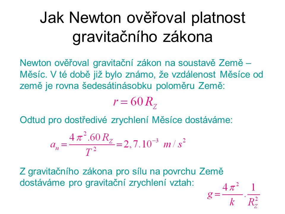 Jak Newton ověřoval platnost gravitačního zákona Newton ověřoval gravitační zákon na soustavě Země – Měsíc. V té době již bylo známo, že vzdálenost Mě