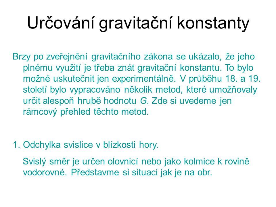Určování gravitační konstanty Brzy po zveřejnění gravitačního zákona se ukázalo, že jeho plnému využití je třeba znát gravitační konstantu. To bylo mo