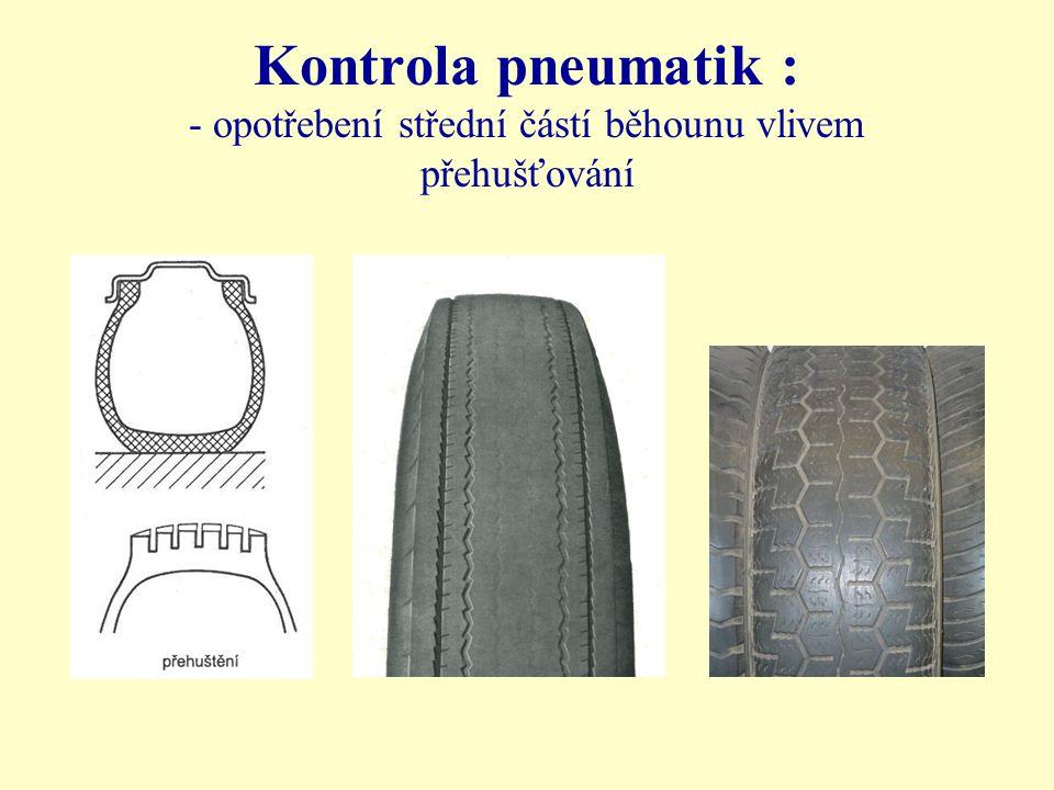 Kontrola pneumatik : - poškození patky pneumatiky Vlivem koroze ráfku Vlivem násilné montáže