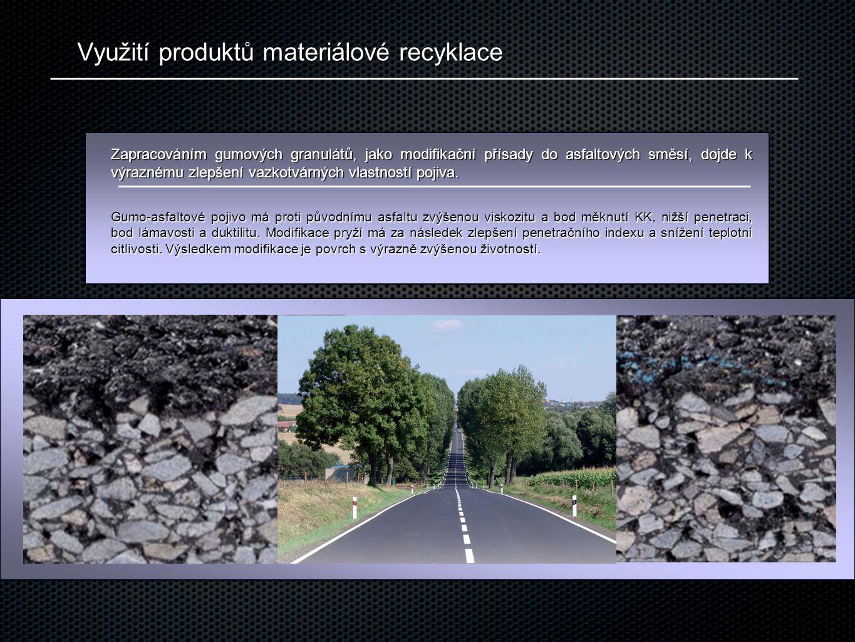 Využití produktů materiálové recyklace Zapracováním gumových granulátů, jako modifikační přísady do asfaltových směsí, dojde k výraznému zlepšení vazkotvárných vlastností pojiva.