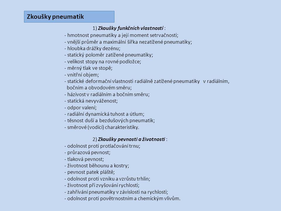 1) Zkoušky funkčních vlastností : - hmotnost pneumatiky a její moment setrvačnosti; - vnější průměr a maximální šířka nezatížené pneumatiky; - hloubka