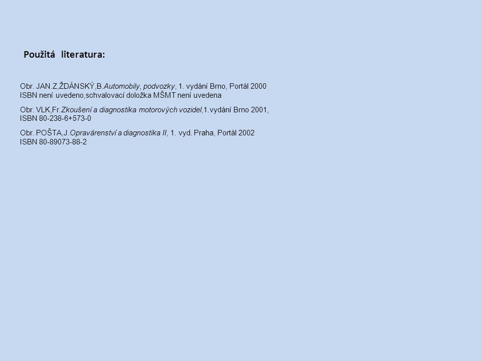 Obr. JAN.Z,ŽDÁNSKÝ,B.Automobily, podvozky, 1. vydání Brno, Portál 2000 ISBN není uvedeno,schvalovací doložka MŠMT není uvedena Obr. VLK,Fr.Zkoušení a