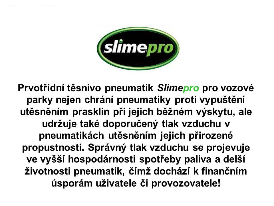 Prvotřídní těsnivo pneumatik Slimepro pro vozové parky nejen chrání pneumatiky proti vypuštění utěsněním prasklin při jejich běžném výskytu, ale udržu