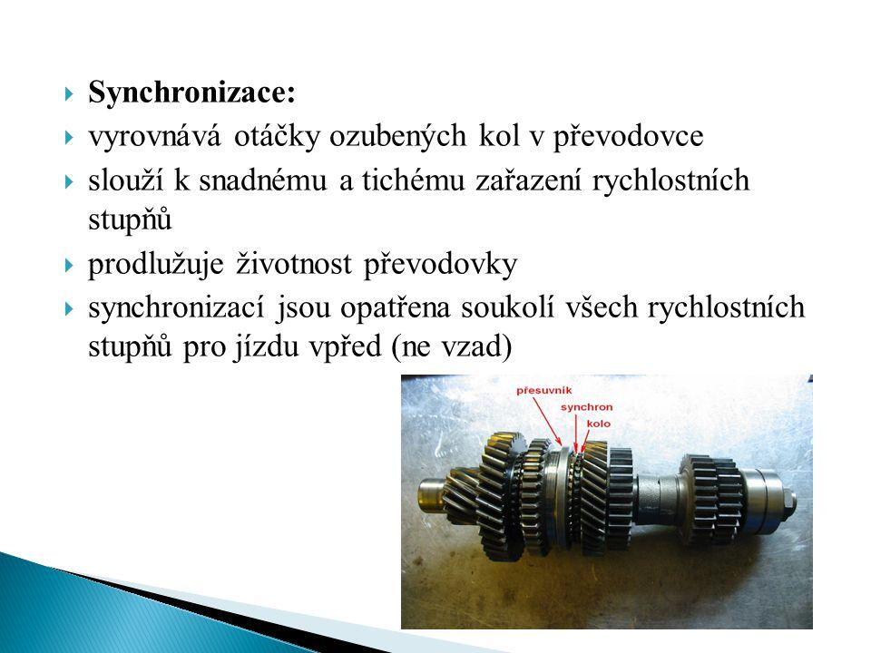  Synchronizace:  vyrovnává otáčky ozubených kol v převodovce  slouží k snadnému a tichému zařazení rychlostních stupňů  prodlužuje životnost převo