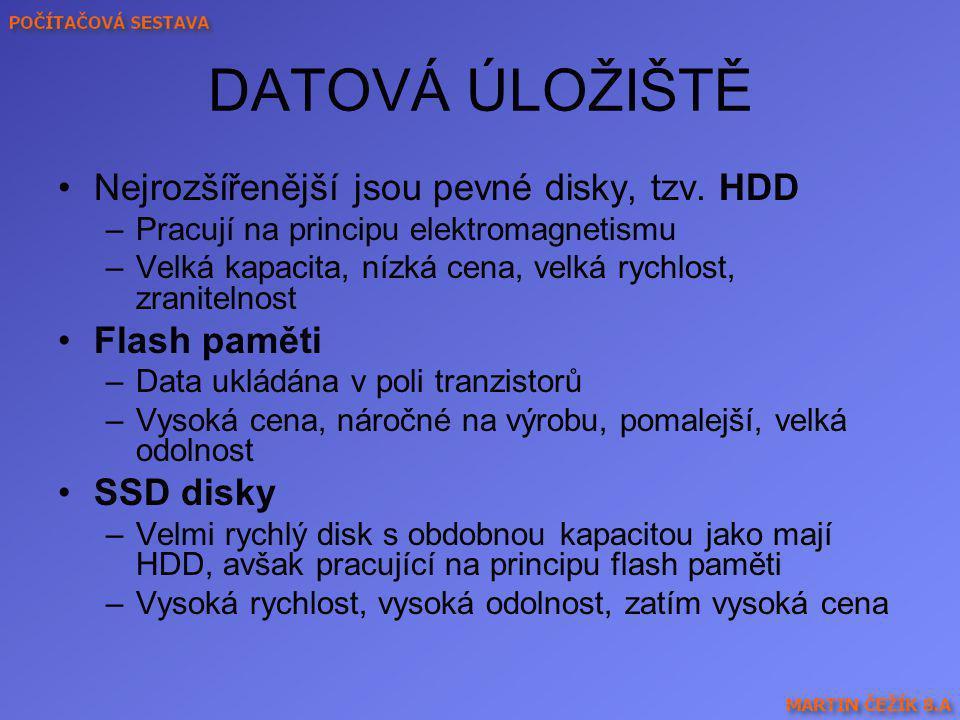 DATOVÁ ÚLOŽIŠTĚ Nejrozšířenější jsou pevné disky, tzv. HDD –Pracují na principu elektromagnetismu –Velká kapacita, nízká cena, velká rychlost, zranite