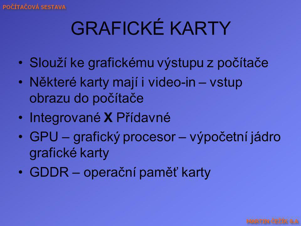 GRAFICKÉ KARTY Slouží ke grafickému výstupu z počítače Některé karty mají i video-in – vstup obrazu do počítače Integrované X Přídavné GPU – grafický