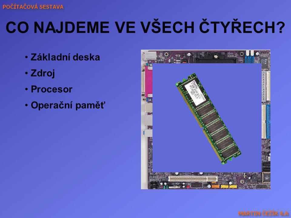 ZÁKLADNÍ DESKA - motherboard Jsou k ní připojeny všechny ostatní části počítače Rozšiřující sloty Důkladná architektura