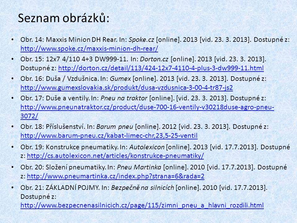 Seznam obrázků: Obr. 14: Maxxis Minion DH Rear. In: Spoke.cz [online]. 2013 [vid. 23. 3. 2013]. Dostupné z: http://www.spoke.cz/maxxis-minion-dh-rear/