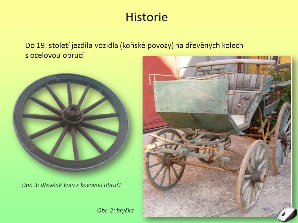 Historie Do 19. století jezdila vozidla (koňské povozy) na dřevěných kolech s ocelovou obručí Obr. 2: bryčka Obr. 3: dřevěné kolo s kovovou obručí