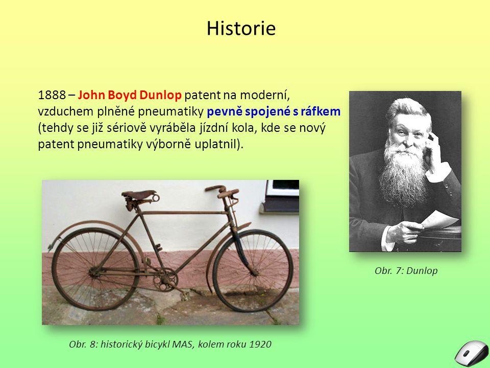 Historie Obr. 7: Dunlop 1888 – John Boyd Dunlop patent na moderní, vzduchem plněné pneumatiky pevně spojené s ráfkem (tehdy se již sériově vyráběla jí