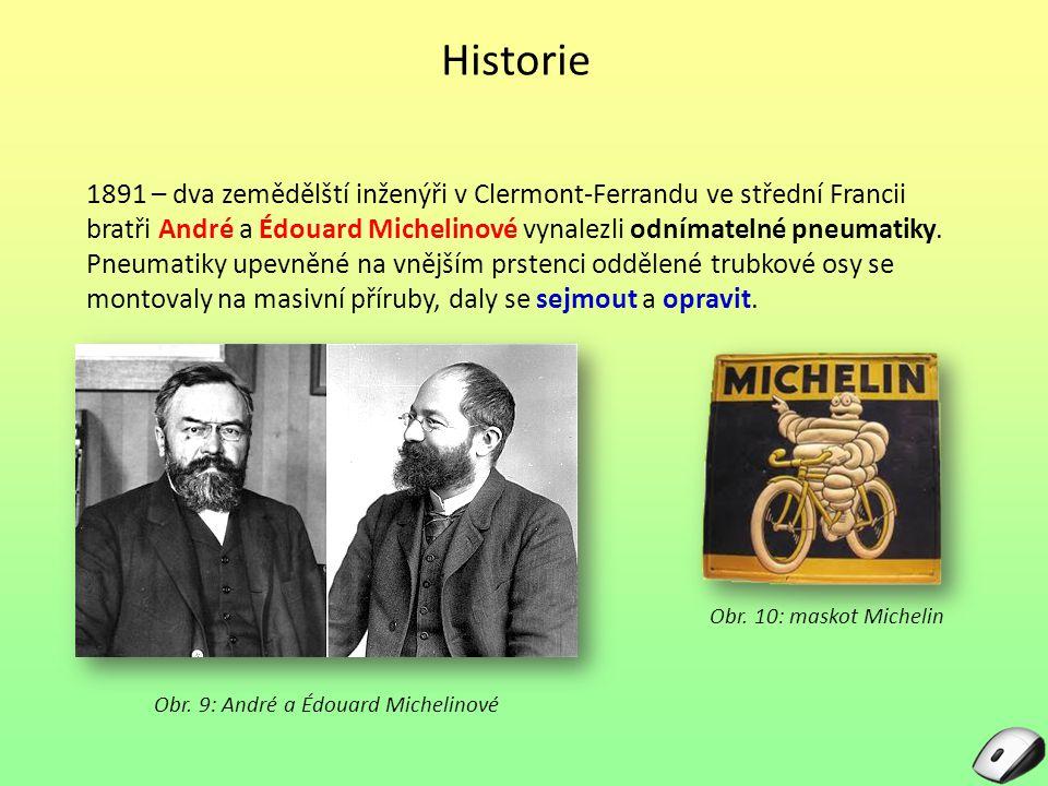 Historie Obr. 9: André a Édouard Michelinové 1891 – dva zemědělští inženýři v Clermont-Ferrandu ve střední Francii bratři André a Édouard Michelinové