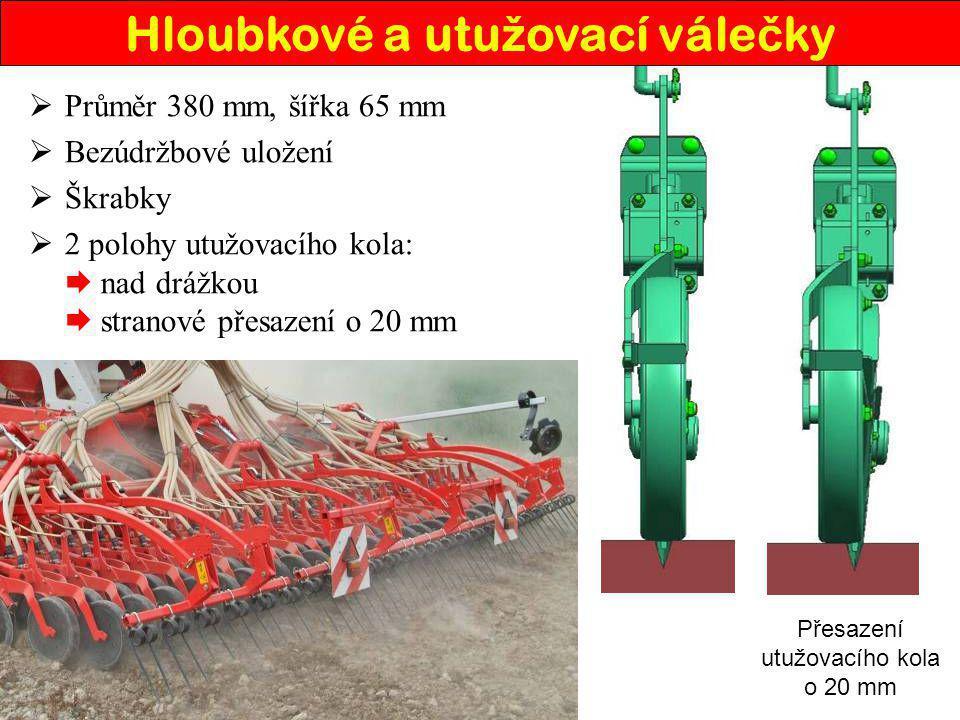  Průměr 380 mm, šířka 65 mm  Bezúdržbové uložení  Škrabky  2 polohy utužovacího kola:  nad drážkou  stranové přesazení o 20 mm Přesazení utužova
