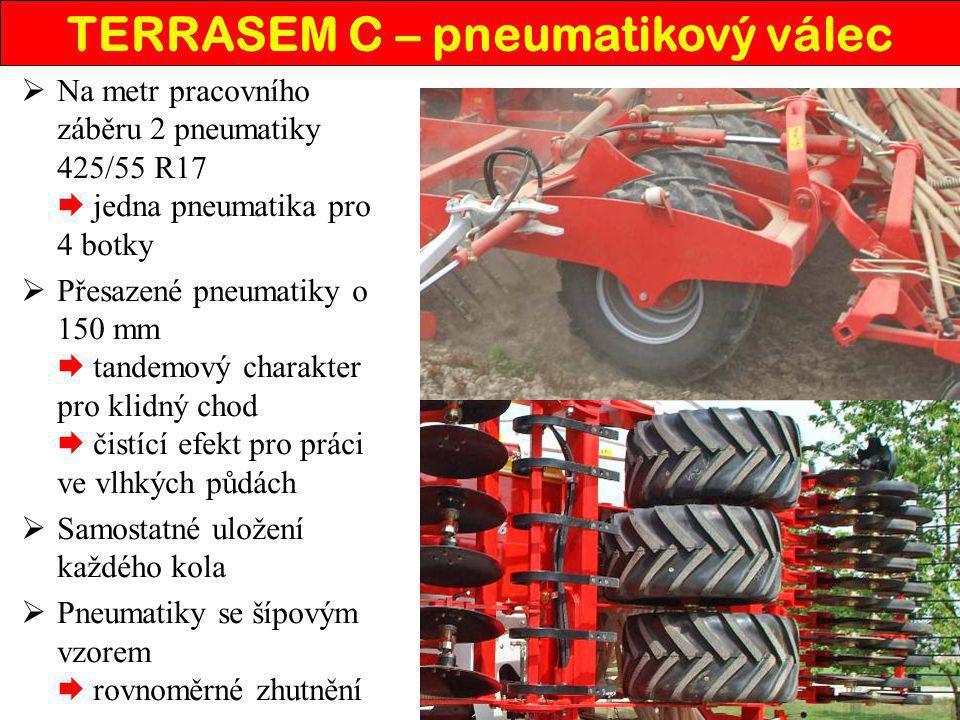  Na metr pracovního záběru 2 pneumatiky 425/55 R17  jedna pneumatika pro 4 botky  Přesazené pneumatiky o 150 mm  tandemový charakter pro klidný ch