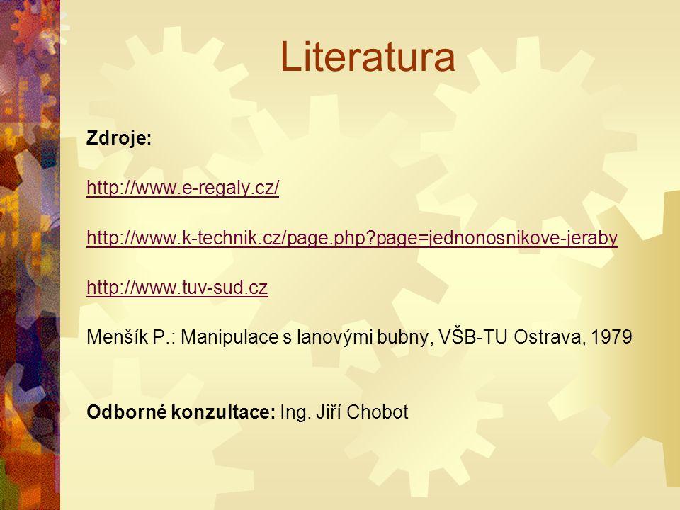 Literatura Zdroje: http://www.e-regaly.cz/ http://www.k-technik.cz/page.php?page=jednonosnikove-jeraby http://www.tuv-sud.cz Menšík P.: Manipulace s l