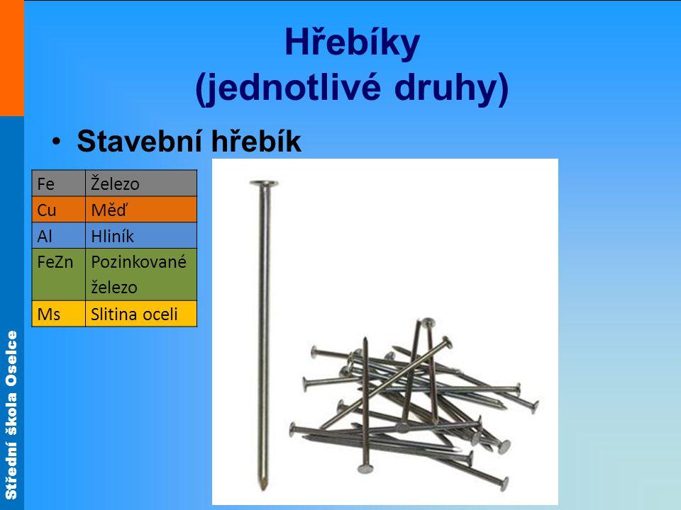 Střední škola Oselce Hřebíky (jednotlivé druhy) Stavební hřebík FeŽelezo CuMěď AlHliník FeZn Pozinkované železo MsSlitina oceli