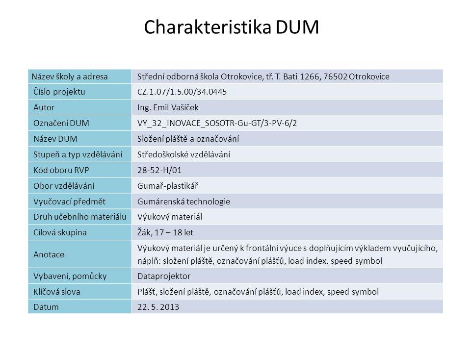 Složení pláště a označování Náplň výuky (obsah hodiny) Pneumatika Plášť Označování plášťů load index speed symbol