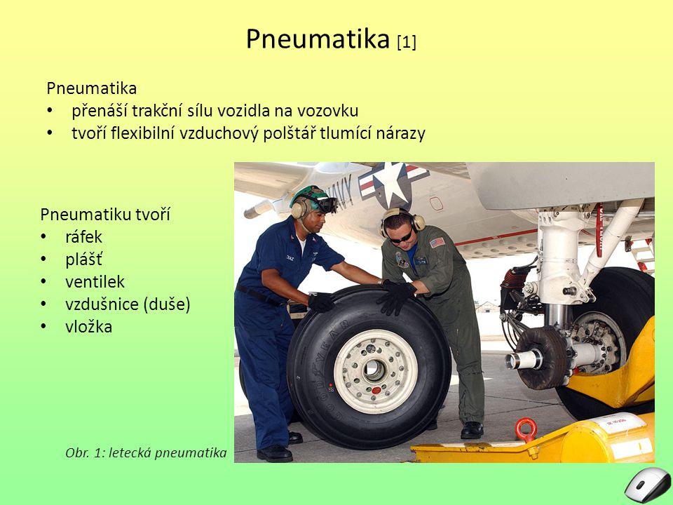 Pneumatika [1] Pneumatiku tvoří ráfek plášť ventilek vzdušnice (duše) vložka Obr.