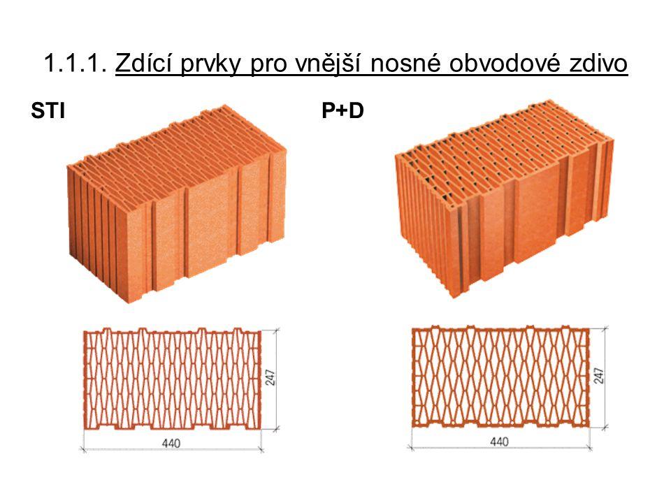 1.1.2.Zdící prvky pro nosné zdivo Nemusejí splňovat tepelně-izolační požadavky.