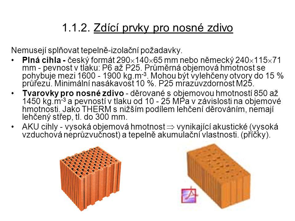 1.1.3.Zdící prvky pro nenosné zdivo Nenosné zdivo = příčky, výplňové zdivo (s funkcí pouze např.