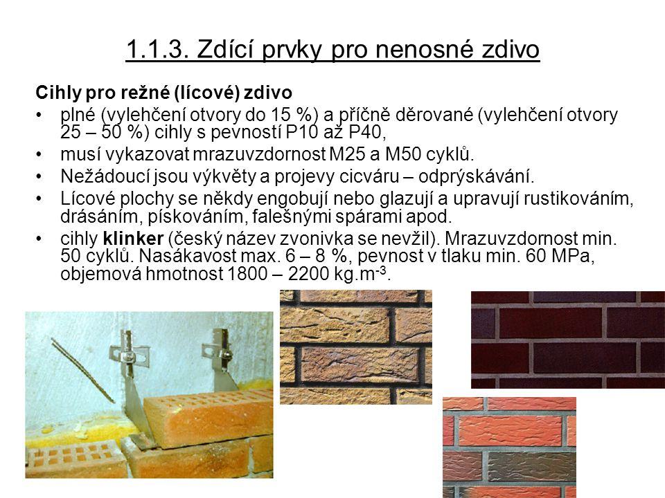 1.2.Pálené cihlářské prvky pro vodorovné (stropní) konstrukce stropní desky, např.