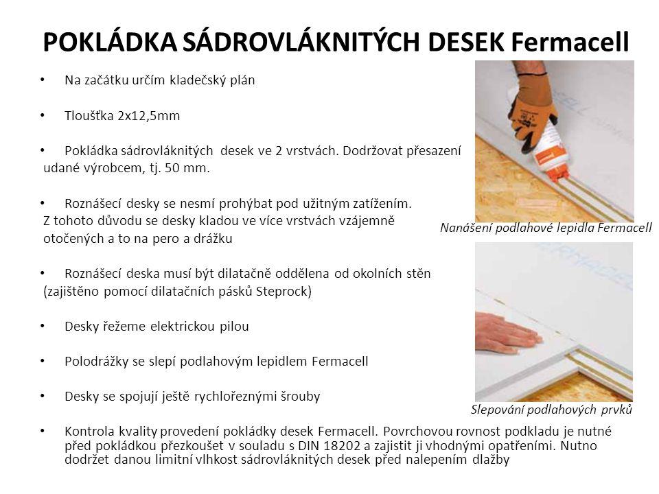 POKLÁDKA SÁDROVLÁKNITÝCH DESEK Fermacell Na začátku určím kladečský plán Tloušťka 2x12,5mm Pokládka sádrovláknitých desek ve 2 vrstvách.