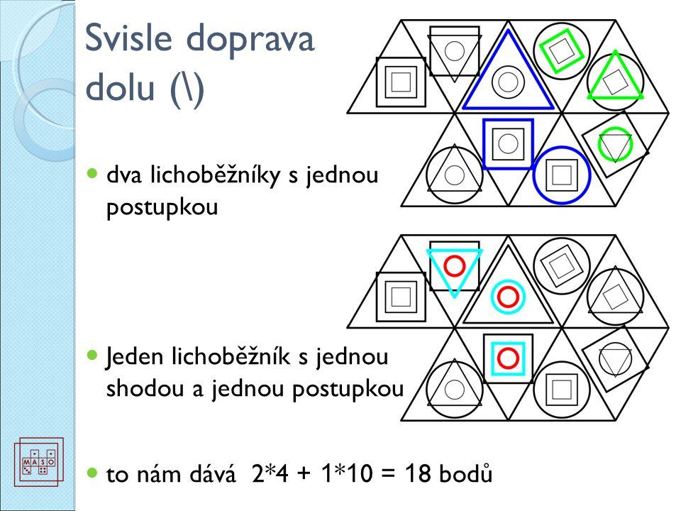 dva lichoběžníky s jednou postupkou Jeden lichoběžník s jednou shodou a jednou postupkou to nám dává 2*4 + 1 * 1 0 = 1 8 bodů Svisle doprava dolu ( \ )