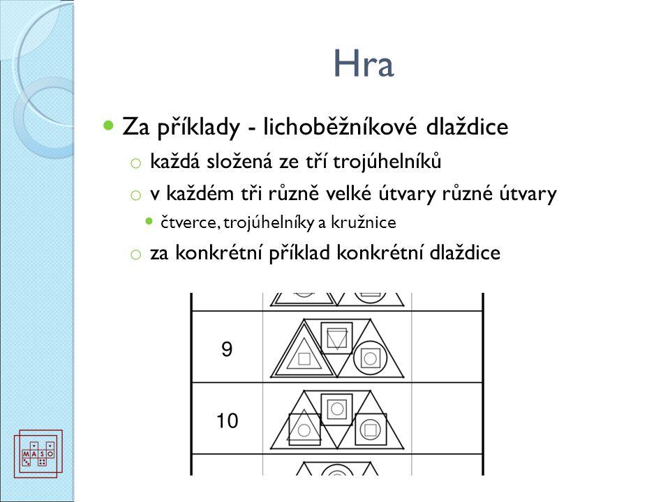 Hra Za příklady - lichoběžníkové dlaždice o každá složená ze tří trojúhelníků o v každém tři různě velké útvary různé útvary čtverce, trojúhelníky a kružnice o za konkrétní příklad konkrétní dlaždice