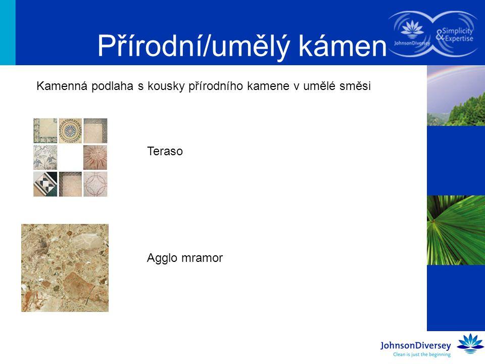 Přírodní/umělý kámen Kamenná podlaha s kousky přírodního kamene v umělé směsi Teraso Agglo mramor