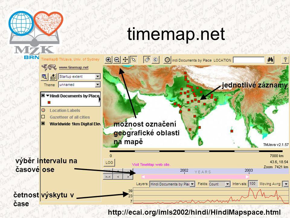 timemap.net výběr intervalu na časové ose četnost výskytu v čase možnost označení geografické oblasti na mapě jednotlivé záznamy http://ecai.org/imls2