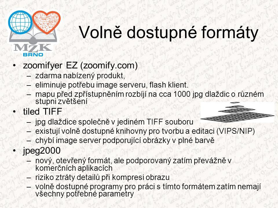 Volně dostupné formáty zoomifyer EZ (zoomify.com) –zdarma nabízený produkt, –eliminuje potřebu image serveru, flash klient. –mapu před zpřístupněním r