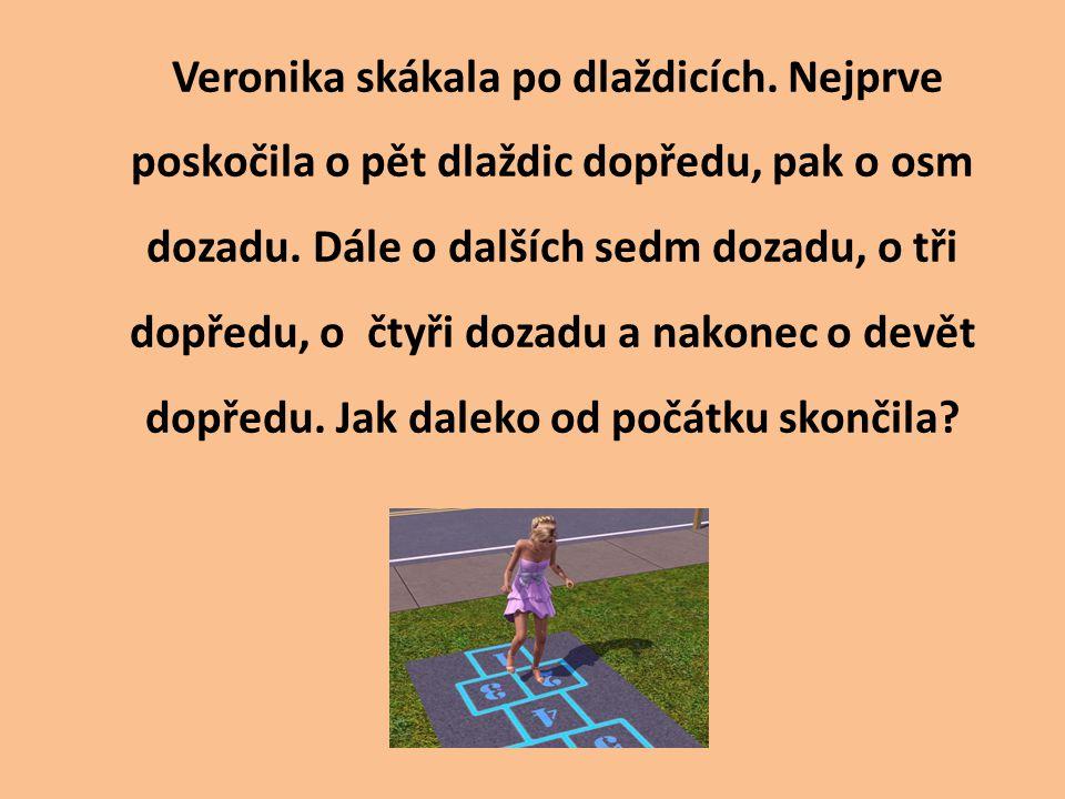 0 + 5 – 8 – 7 + 3 – 4 + 9 = - 2 Veronika skončila dvě dlaždice za startem.