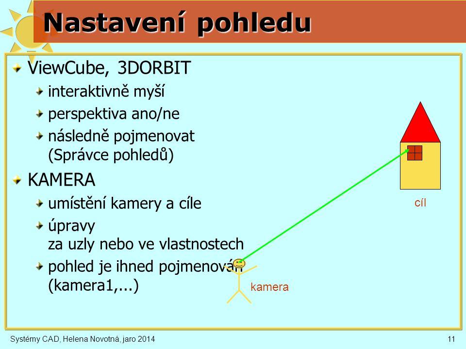 Systémy CAD, Helena Novotná, jaro 201411 Nastavení pohledu ViewCube, 3DORBIT interaktivně myší perspektiva ano/ne následně pojmenovat (Správce pohledů