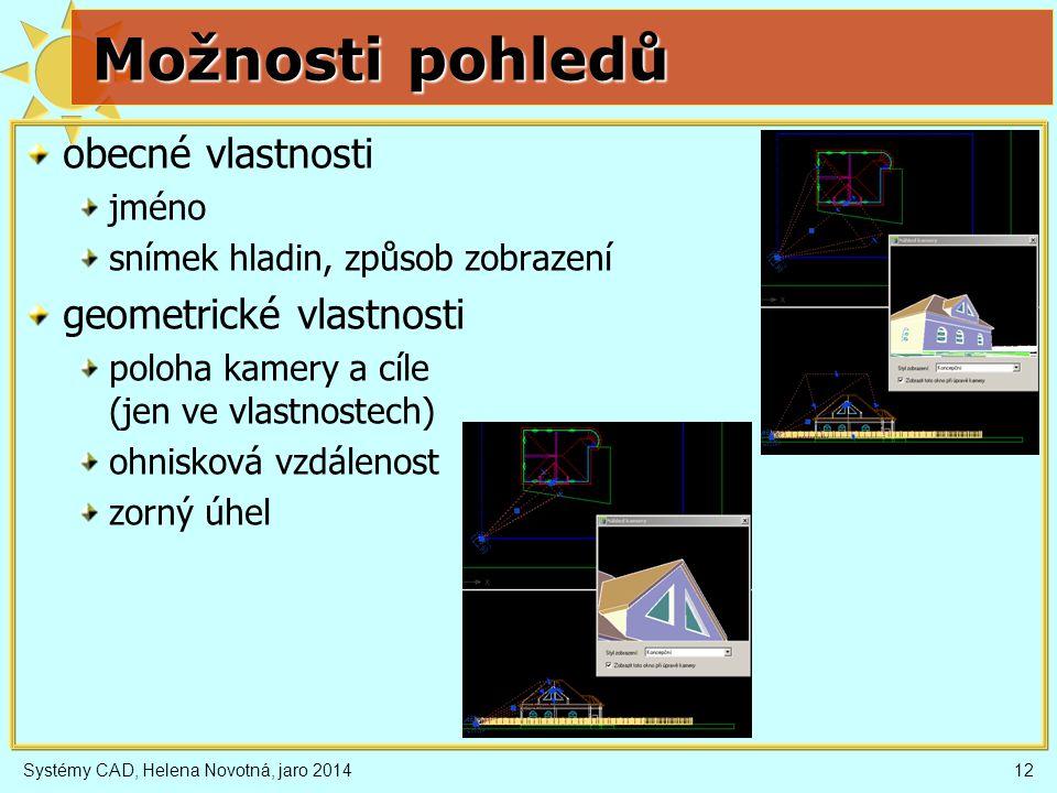 Systémy CAD, Helena Novotná, jaro 201412 Možnosti pohledů obecné vlastnosti jméno snímek hladin, způsob zobrazení geometrické vlastnosti poloha kamery