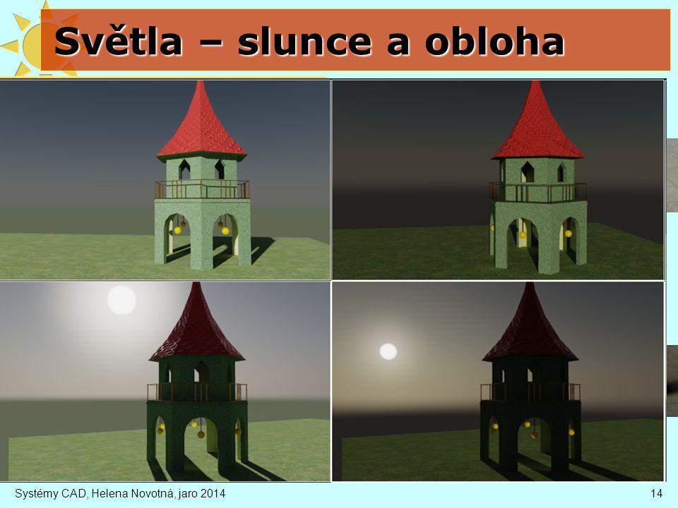 Světla – slunce a obloha Systémy CAD, Helena Novotná, jaro 201414 slunce rovnoběžné světlo směr závisí na nastavené zeměpisné poloze, čase a datu inte