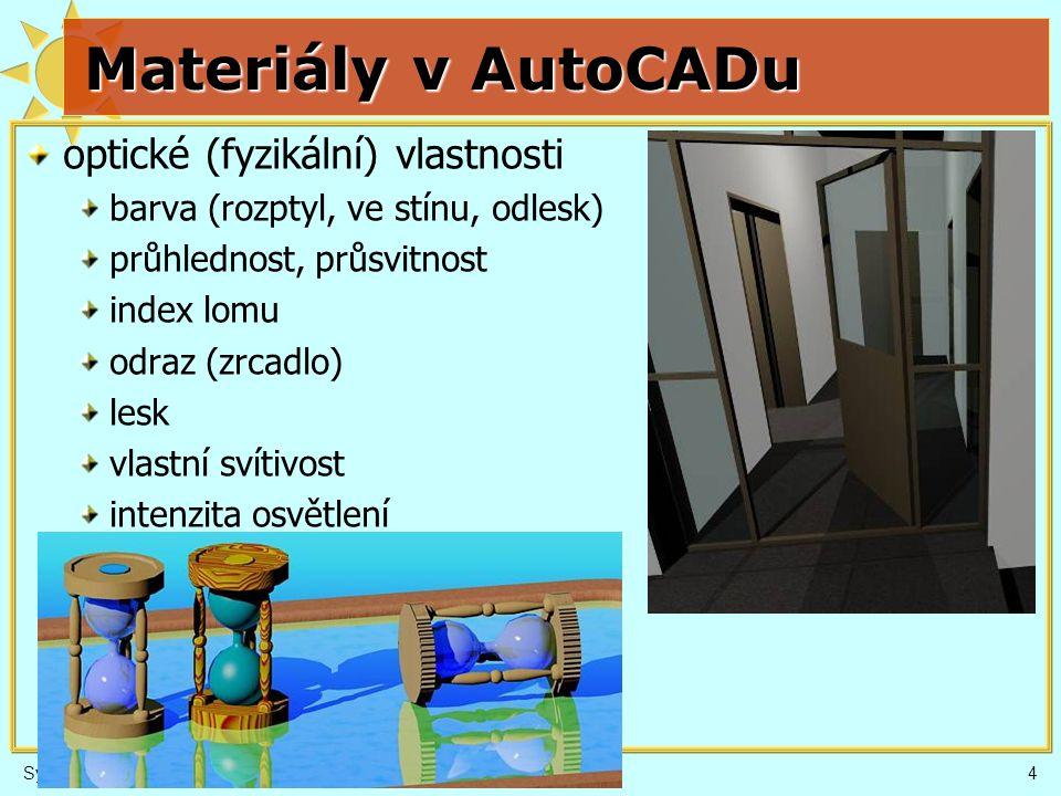 4 Materiály v AutoCADu optické (fyzikální) vlastnosti barva (rozptyl, ve stínu, odlesk) průhlednost, průsvitnost index lomu odraz (zrcadlo) lesk vlast