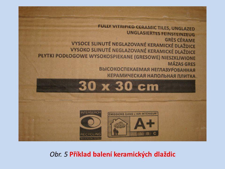 Obr. 5 Příklad balení keramických dlaždic