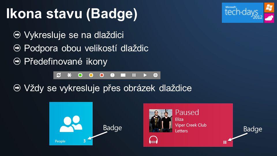 Vykresluje se na dlaždici Podpora obou velikostí dlaždic Předefinované ikony Vždy se vykresluje přes obrázek dlaždice Ikona stavu (Badge) Badge