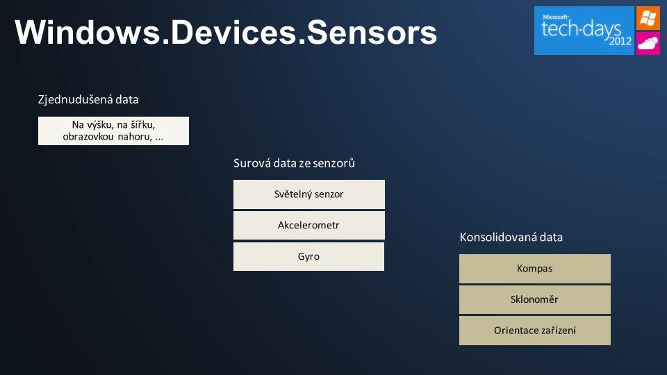 Windows.Devices.Sensors Zjednudušená data Na výšku, na šířku, obrazovkou nahoru,...