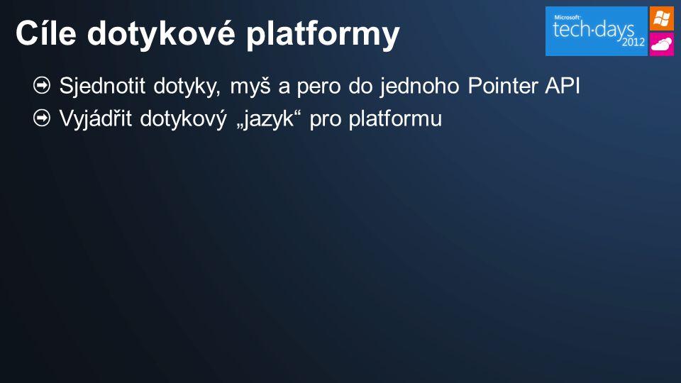 """Sjednotit dotyky, myš a pero do jednoho Pointer API Vyjádřit dotykový """"jazyk pro platformu Cíle dotykové platformy"""