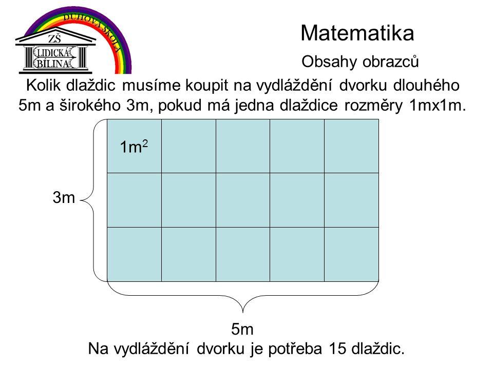 Matematika Obsahy obrazců Kolik dlaždic musíme koupit na vydláždění dvorku dlouhého 5m a širokého 3m, pokud má jedna dlaždice rozměry 1mx1m.