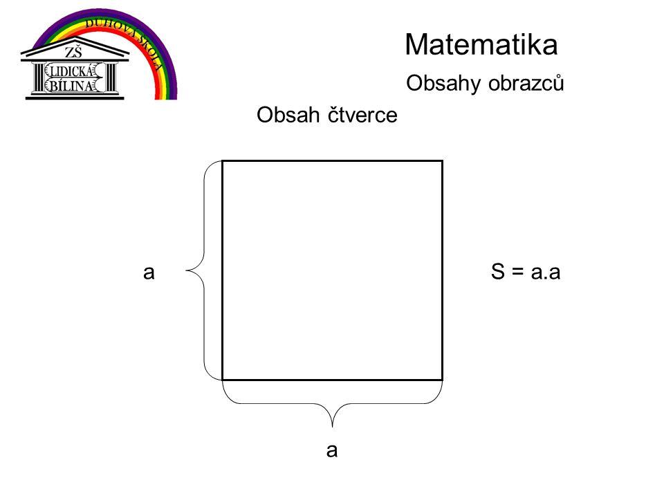 Matematika Obsahy obrazců Obsah čtverce a aS = a.a