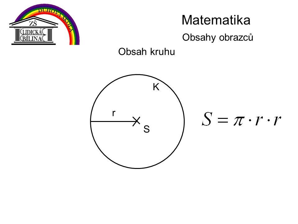 Matematika Obsahy obrazců Obsah kruhu K S r