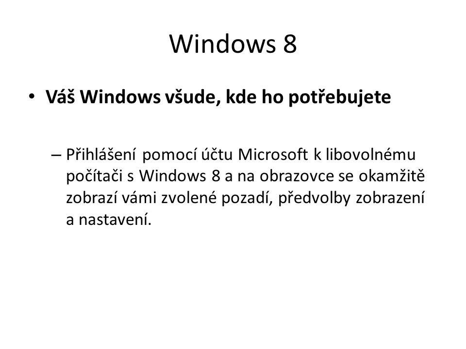 Windows 8 Váš Windows všude, kde ho potřebujete – Přihlášení pomocí účtu Microsoft k libovolnému počítači s Windows 8 a na obrazovce se okamžitě zobra
